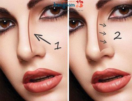 trang điểm mũi cao